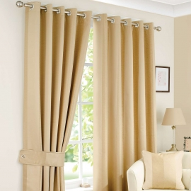 Monaco Gold Thermal Eyelet Curtains