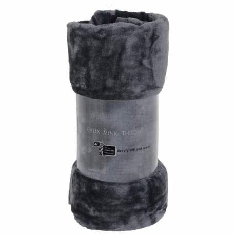 Charcoal Mink Throw