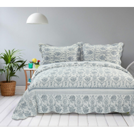 Elainer Home Living Blue Bells Damask Soft Touch Quilted Bedspread with 2 Pillowsham Set