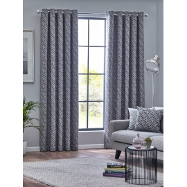 Belfield Byron Graphite Eyelet curtains