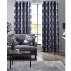 Belfield Enchanted Forest Charcoal Eyelet curtains