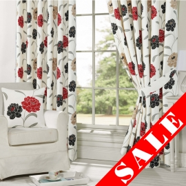 Isobel Red Eyelet Curtain